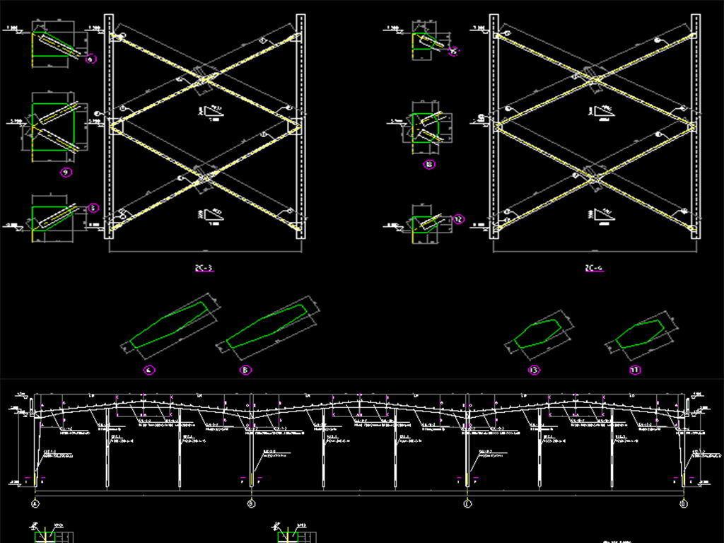 【大棚施工图】钢结构温室蔬菜大棚施工图纸(共8张)_土木在线