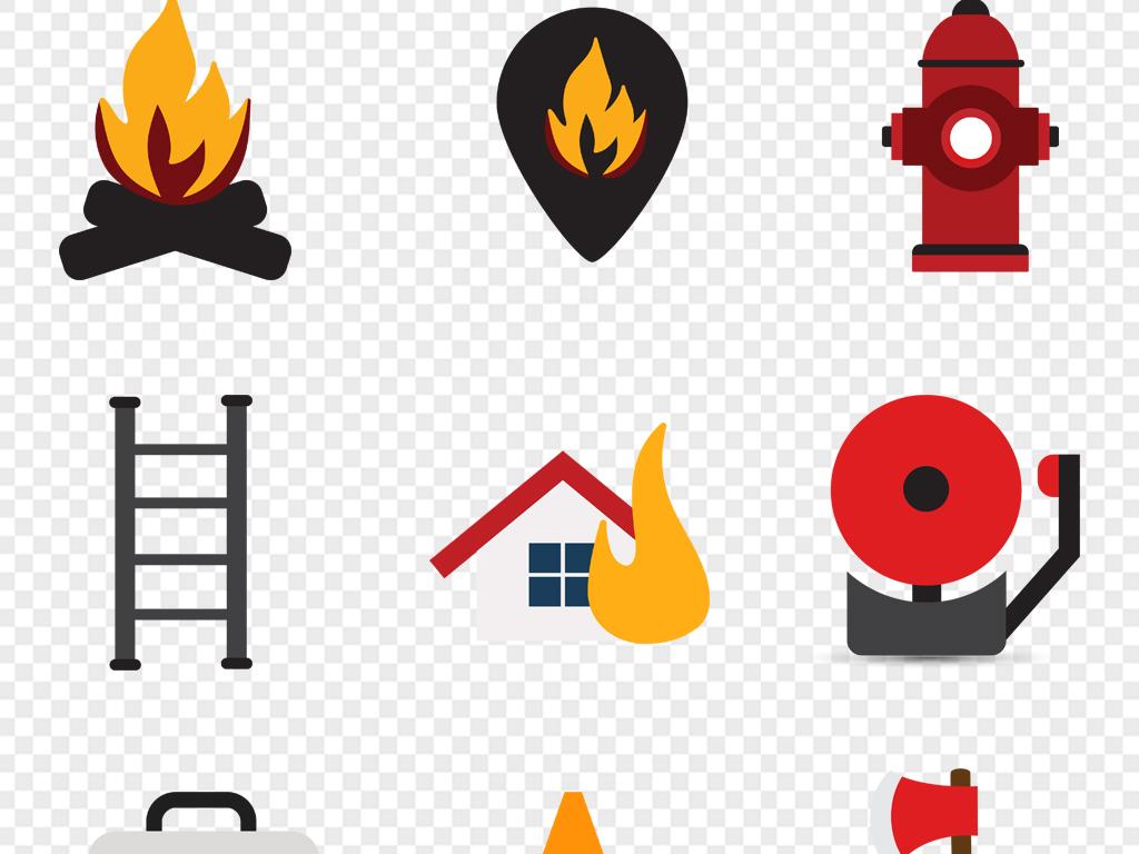 消防防范元素图标消防用具培训消防车灭火器安全帽ai矢量
