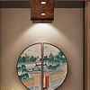 新中式工笔名俗建筑风景酒店工装半圆挂画双联工笔画玄关壁画