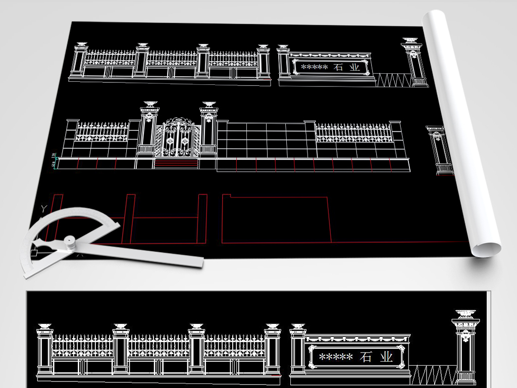 大理石多个CAD铁门CADcad围栏修改块图片
