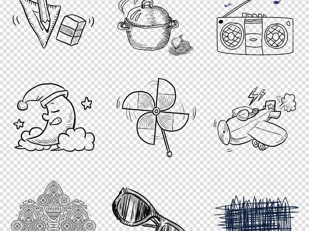 卡通手绘线条物品黑色简笔画PNG免抠素材图片 模板下载 22.55MB 居家物品大全 生活工作图片