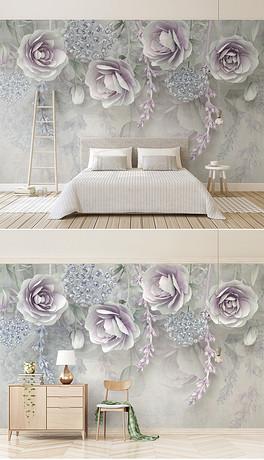 新款淡紫色花卉3d立体浮雕花朵电视背景墙