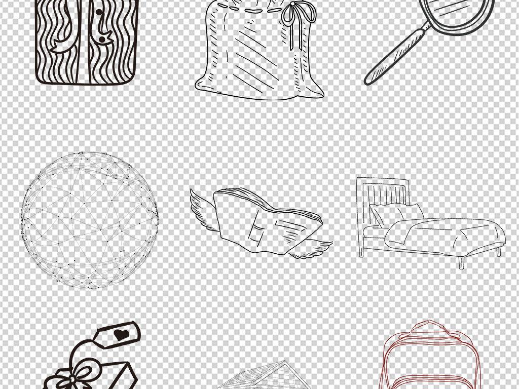 卡通手绘线条物品黑色简笔画PNG免抠素材图片 模板下载 12.71MB 办公商务大全 生活工作图片