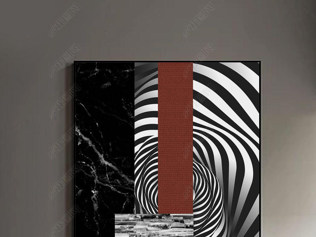 抽象现代几何黑白玄关客厅晶瓷画北欧装饰画