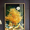现代轻奢金色抽象森林福禄发财玄关装饰画三