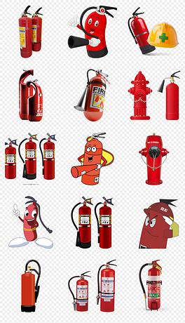 卡通手绘灭火器119消防器材设计元素png素材