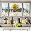 新中式现代轻奢抽象山水森林麋鹿北欧客厅装饰画