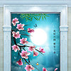 中国风花好月圆玉兰花中式古典玄关背景墙