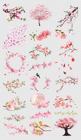 实用春季手绘浪漫粉色花瓣飘落桃花樱花树