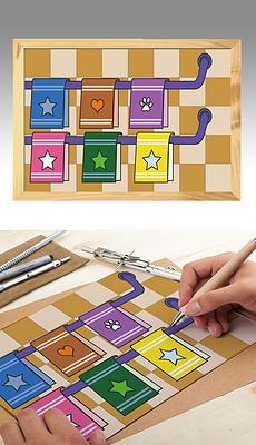 原创卡通儿童手绘简笔画涂鸦画插画杯子架子卡通毛巾