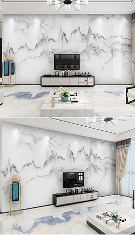 现代简约爵士白山水大理石纹背景墙