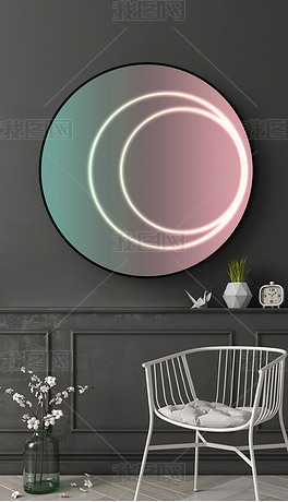 现代几何抽象创意客厅北欧轻奢装饰画圆框画