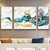 新中式轻奢禅意抽象笔刷山水意境麋鹿装饰画