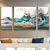 新中式禅意抽象山水蓝色笔刷九鱼图装饰画