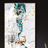 新中式抽象蓝色笔刷山水大理石麋鹿装饰画
