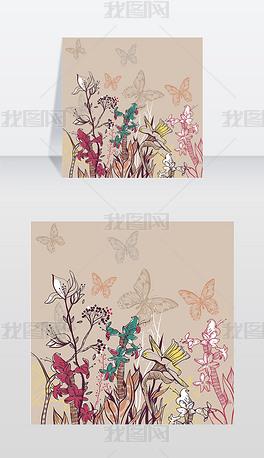 向量插图与盛开的鲜花和植物的夏季田野