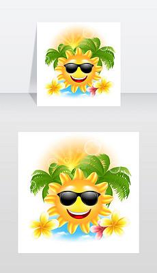 说明夏天有趣的背景与快乐微笑的太阳,棕榈树,鲜花素馨花向量