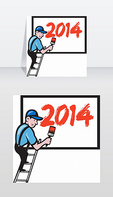一名油漆工、招牌作家、工人站在梯子上的插画,用画笔画的广告牌,上面写着2014年新年2014年新年画家绘画广告牌
