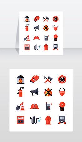 消防部门装饰图标消防部门装饰平面图标收集消防人员的设备和工具与斧头桶满铲盔灭火器孤立矢量插图