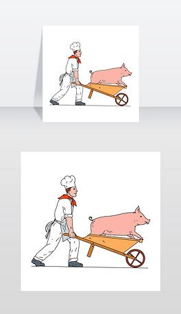 素描风格的插图,画的是厨师、厨师、面包师或屠夫推着手推车,从侧面抱着一头猪,背景是孤立的白色厨师推着手推车和猪彩绘