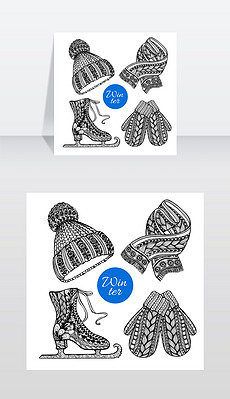 装饰滑冰鞋,手套,围巾涂鸦图标冬季针织时尚配饰象形图的帽子、手套和围巾黑色涂鸦风格抽象矢量孤立插图