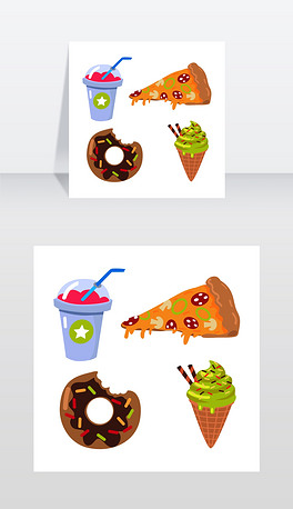 收集各种食物粉红色沙冰在封闭的杯子与蓝色吸管意大利腊肠披萨,蘑菇,奶酪巧克力甜甜圈和五彩纸屑冰淇淋蛋卷卡通风格向量冰沙块披萨甜甜圈冰淇淋甜筒