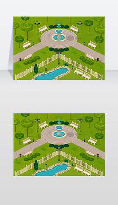 城市公园景观片段城市公园景观片段,步行道,喷泉树和长椅等距矢量插图