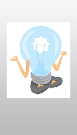 发光灯泡练习瑜伽的卡通插图图片