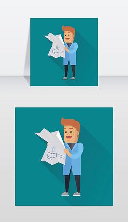 工作中的科学家插图平面设计中的矢量科学图标身穿蓝色长袍、手拿画画、面带微笑的男性角色教育实验在有阴影的蓝色背景上科学家在工作矢量平面式插图科学家工作矢量平面图