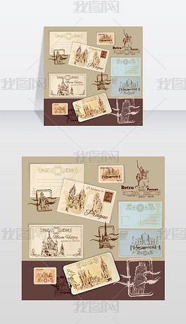 复古明信片 复古明信片模板下载 复古明信片设计素材 我图网
