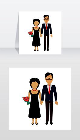 情侣在爱的旗帜男人和女人,男孩和女孩手牵着手,捧着一束花在背景的心脏剪影浪漫的横幅一起男性和女性,矢量插图情侣在爱情旗帜平面设计