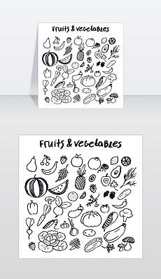 水果和蔬菜收集的手绘元素写在由墨水笔在方格纸上从抄写本矢量插图孤立的食物水果和蔬菜集手绘元素