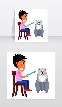 坐在椅子上的小男孩读着蓝色的平板电脑,旁边坐着一只白色的哈士奇狗坐在椅子上的男孩在白狗旁边的写字板上看书