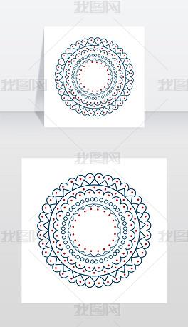 圣诞图案,有框的横幅,在矢量图上表示由形状、直线和曲线、点和三角形组成的圆圈矢量图上的圣诞图案圆
