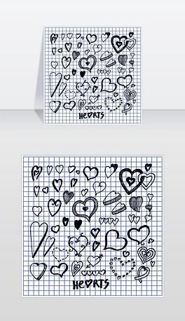 心的手绘元素由墨水笔写在方格纸上从抄写本矢量插图爱情符号不同形状的图标心是用钢笔手写的元素