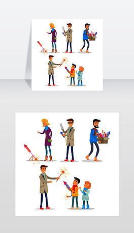 在平面设计中,大人和小孩燃放五彩缤纷的烟花矢量插画在卡通风格的人们看烟火,阅读教学,提箱子和教孩子成人和儿童燃放明亮的烟花