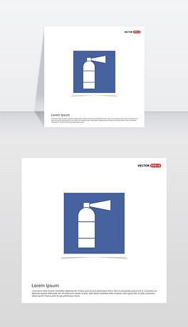 灭火器图标-蓝色相框