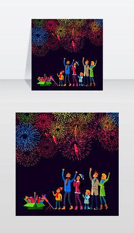 大人们和孩子们看着五彩缤纷的礼炮在天空中爆炸,旁边放着烟火的绿色礼盒矢量插图,人们庆祝新年与烟花,节日庆祝焰火观看敬礼的大人和小孩