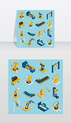 等距机器人机械遥控机械操作人员三维图标设置孤立矢量插图等距机器人机械