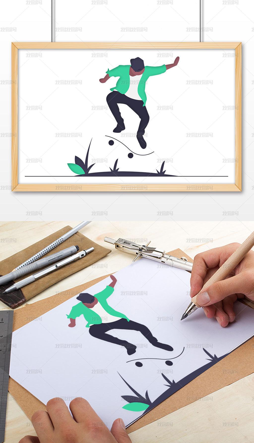 卡通人物矢量插畫滑板男孩