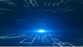藍色科技格子數據空間新聞演播室背景