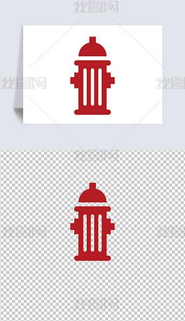 卡通红色简笔画消防栓消防器械免抠小报ppt设计素材