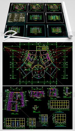四层所办公楼CAD建筑设计图室内设计平面材料标注图片
