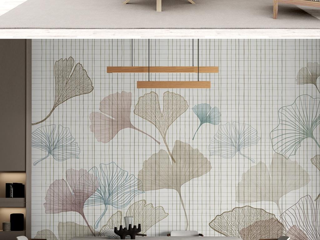 北欧现代简约银杏叶子线条格子背景墙电视背景墙壁画图片素材 效果图下载