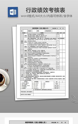 员工绩效考核表(行政人事部人员)绩效评比