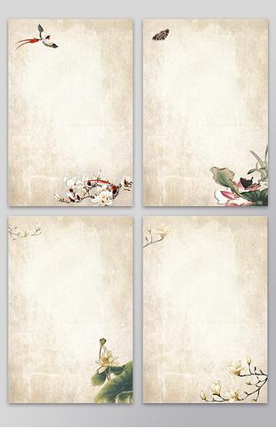 唯美中国风韵味信纸海报背景设计