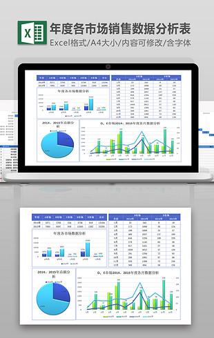 蓝色年度各市场销售数据分析excel模板