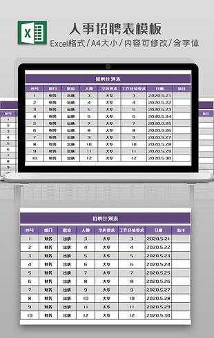 企业人事招聘计划表Excel模板