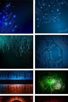 时尚蓝色高科技几何抽象矢量设计