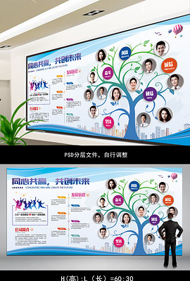 蓝色企业照片墙企业文化墙背景墙